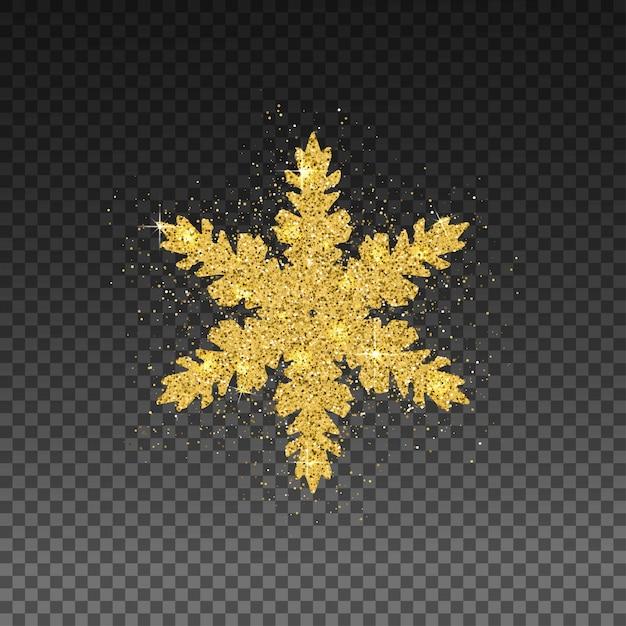Glinsterende gouden sneeuwvlok. Premium Vector