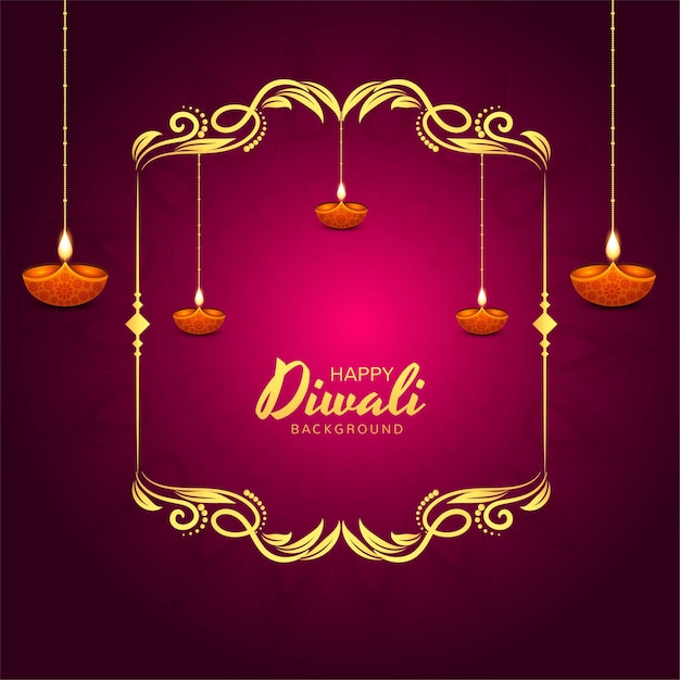 Glinsterende religieuze diwali festival mooie lampen achtergrond Gratis Vector