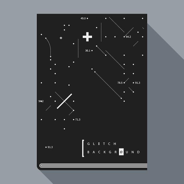 Glitch boek poster ontwerpsjabloon met eenvoudige geometrische ontwerpelementen Premium Vector