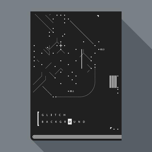 Glitch boekomslag / poster design sjabloon met eenvoudige geometrische designelementen. Premium Vector