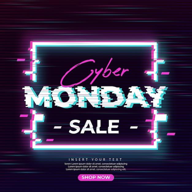 Glitch cyber maandag verkoop banner Gratis Vector