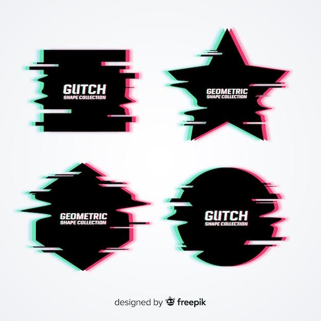 Glitch-effect symboolverzameling Gratis Vector