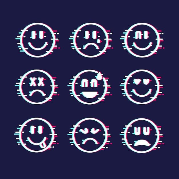 Glitch emoji-collectie Gratis Vector