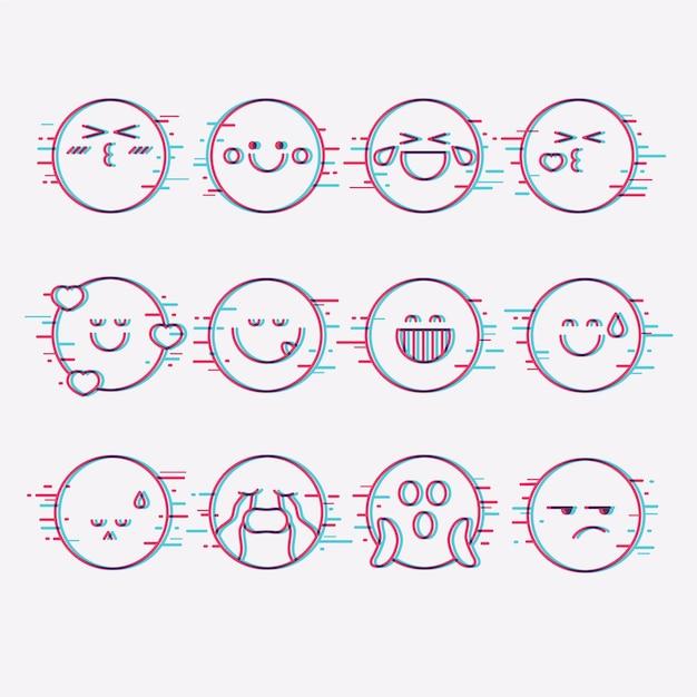 Glitch emoji-collecties Premium Vector