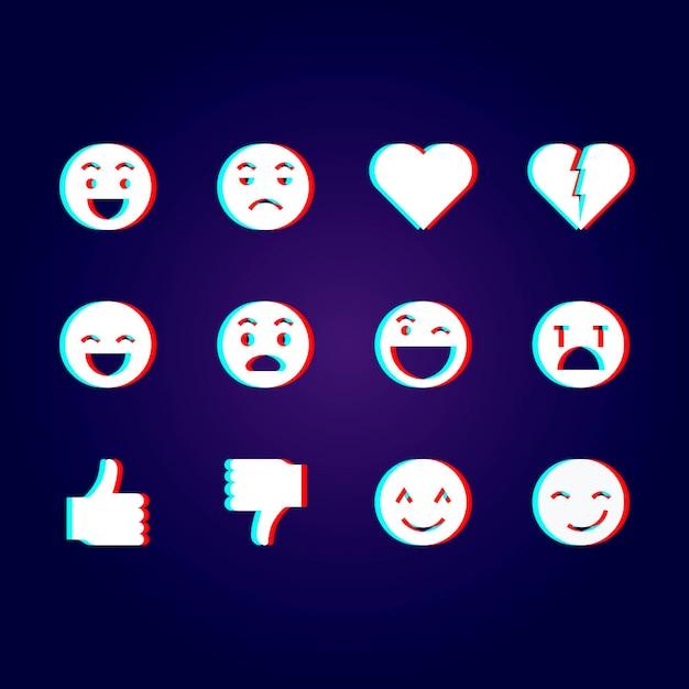 Glitch emoji-illustraties pack Gratis Vector