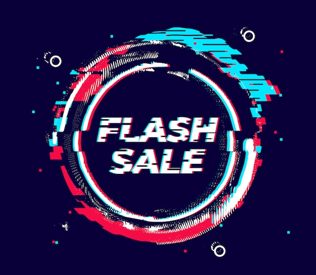Glitch flash-uitverkoopbanner, vervormde cirkelvorm met glitch-effect, ruis en neon kleuren. abstracte ringsjabloon voor verkoop, winkelen, reclame, covers en flyers. Premium Vector