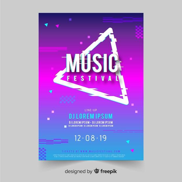 Glitch muziekfestival poster sjabloon Gratis Vector
