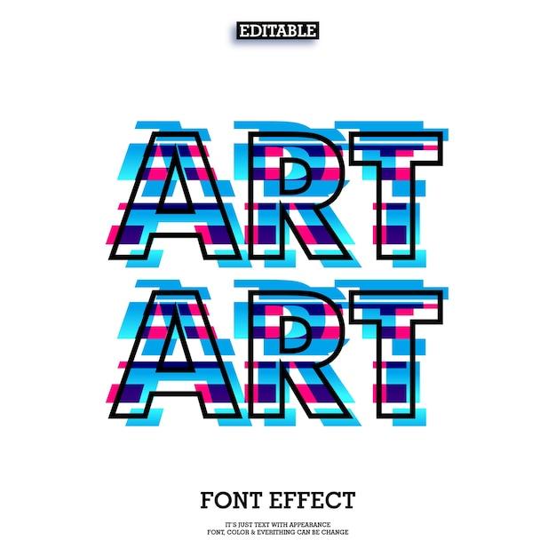 Glitch teksteffect met moderne kunst look ontwerp Premium Vector