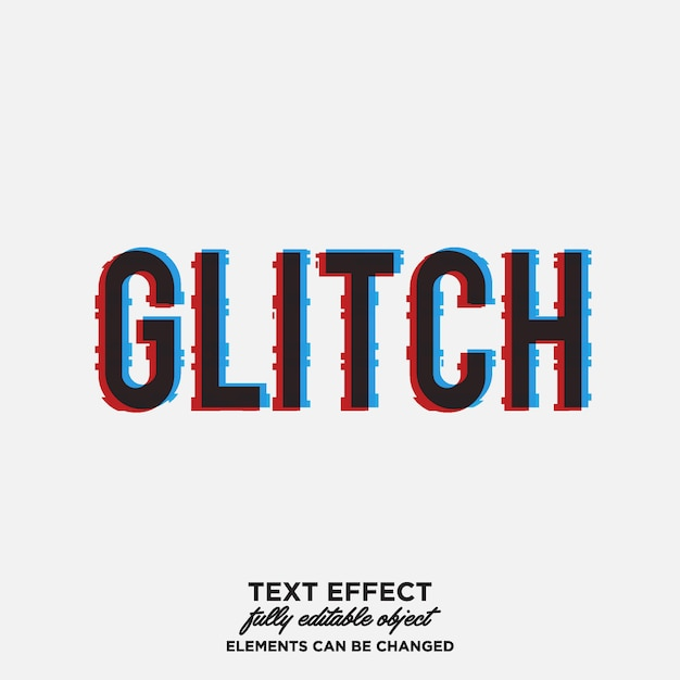 Glitch-teksteffect Premium Vector