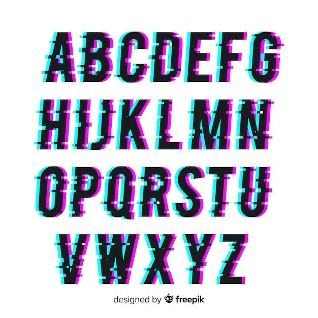 Glitch typografie Gratis Vector