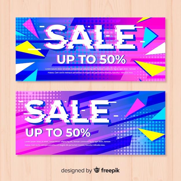 Glitch verkoop banners Gratis Vector