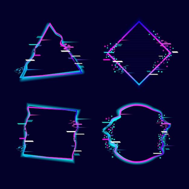 Glitched geometrische vormencollectie Premium Vector