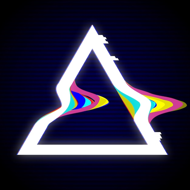 Glitched triangle frame-ontwerp Premium Vector
