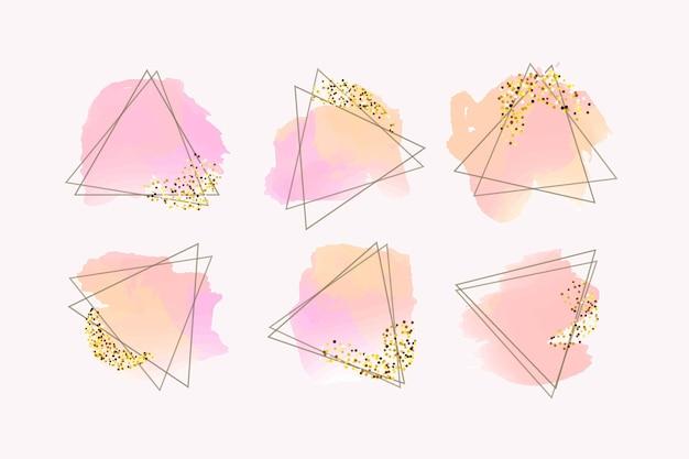 Glitter frame-collectie met penseelstreken Gratis Vector
