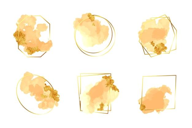 Glitter frame ingesteld met aquarel penseelstreken Gratis Vector