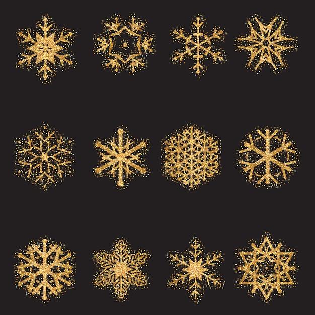 Glitter sneeuwvlokken collectie Premium Vector