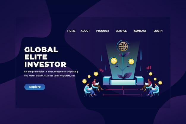 Global elite investor groups verzamelen en observeren hun investeringen, sjabloon voor webpagina-paginakoptekst Premium Vector