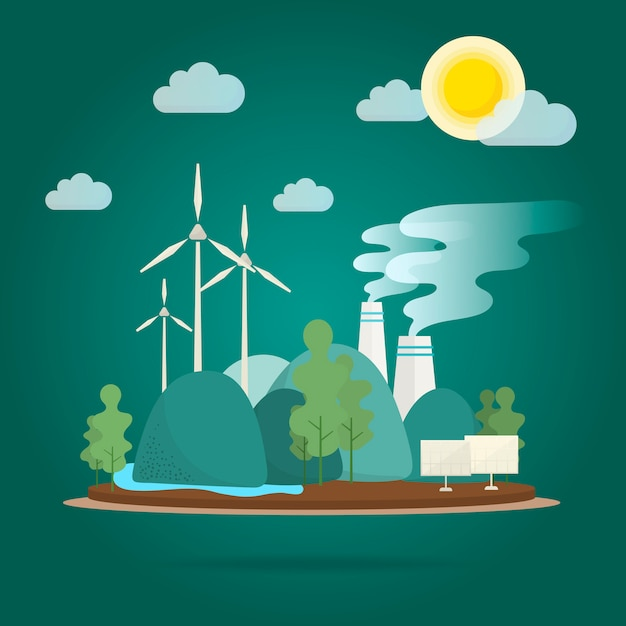 Global warming effect environmental conservation vector Gratis Vector