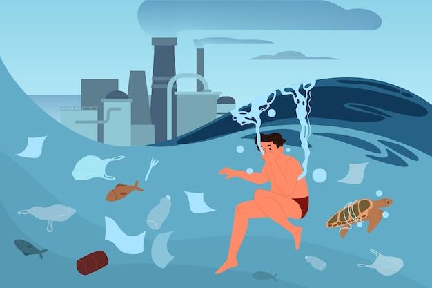 Globale ecologieprobleem illustratiion. milieuvervuiling, ecologische ramp, aarde in gevaar. industriële vervuiling van lucht en water. Premium Vector