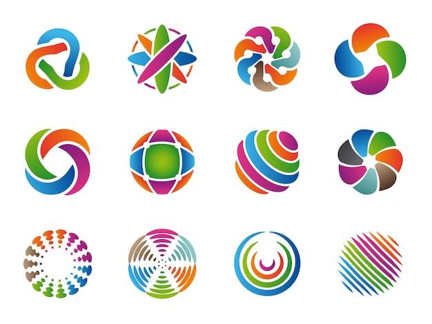 Globe abstract logo. gekleurde zakelijke cirkels rond identiteitsvormen vector collectie. branding bol globe sjabloon, kleurrijke grafische ongebruikelijke illustratie Premium Vector