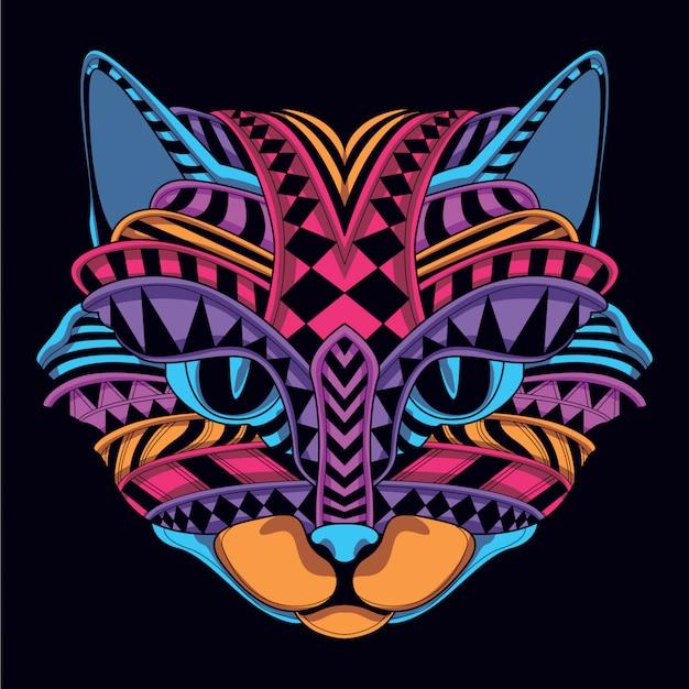 Gloed in het donkere decoratieve kattengezicht Premium Vector