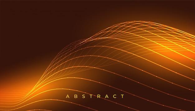 Gloeiend gouden golvend lijnen abstract ontwerp als achtergrond Gratis Vector