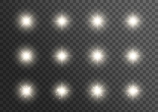 Gloeiend lichteffect. ster barstte uit met glitters. speciaal effect geïsoleerd op transparante achtergrond. transparante stralende zon, heldere flits Premium Vector