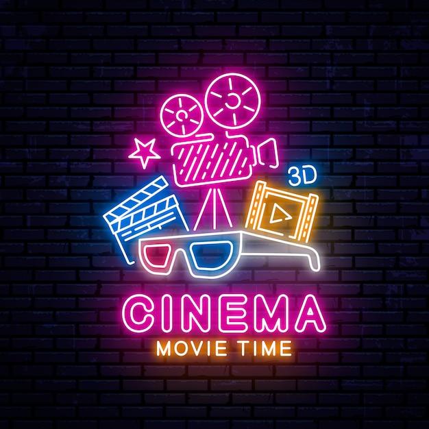 Gloeiend neon bioscoop teken Premium Vector