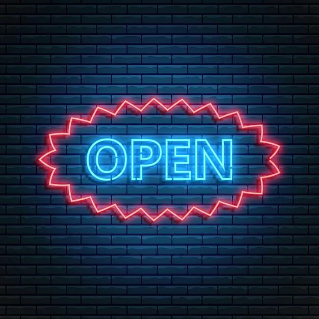 Gloeiend neon open 24/7 teken in ellipsframe. open winkel, winkel of bar pictogram, tekst, banner in neon stijl. Premium Vector
