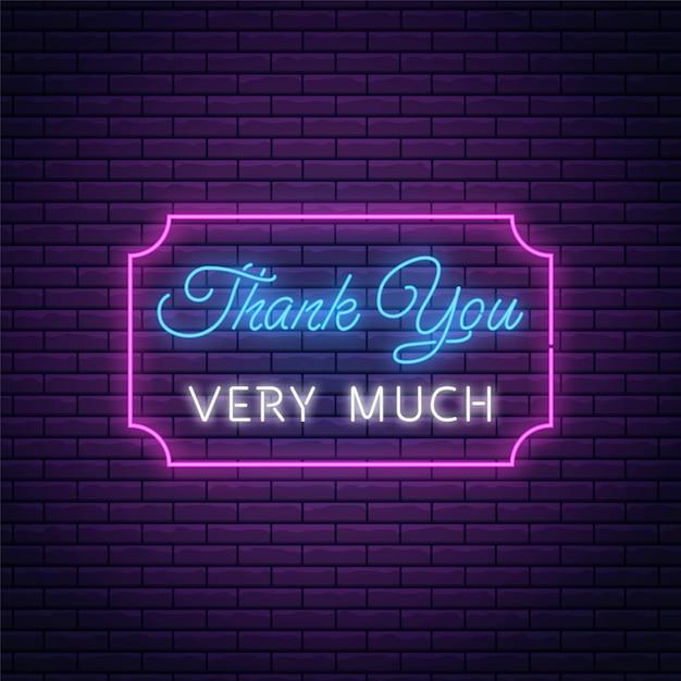 Gloeiend neonbord met hartelijk dank tekst in rechthoekig kader. dank u inscriptie als neon symbool. Premium Vector