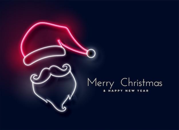 Gloeiend neonlicht de kerstman Gratis Vector