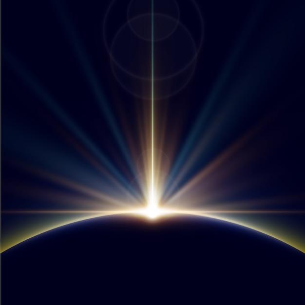 Gloeiende aarde zonsopgang lichteffect Gratis Vector
