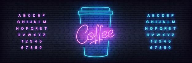 Gloeiende belettering koffie Premium Vector