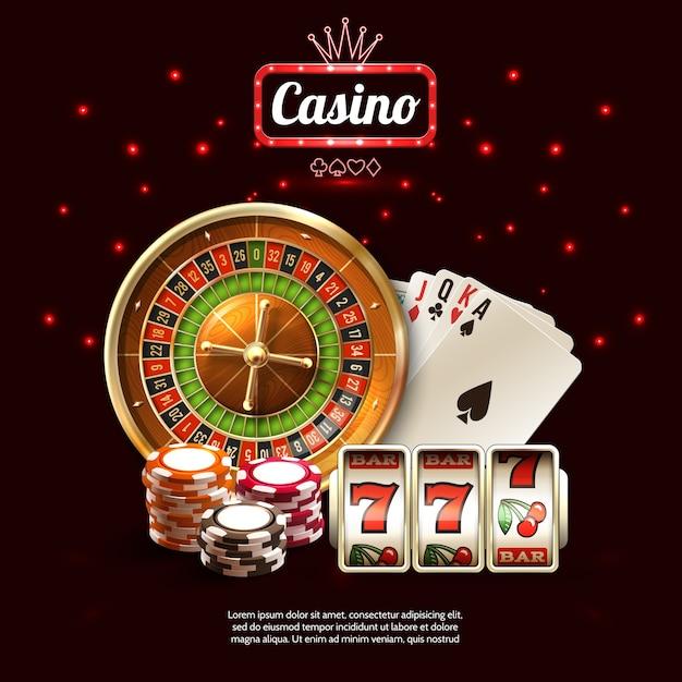 Gloeiende casino realistische samenstelling Gratis Vector