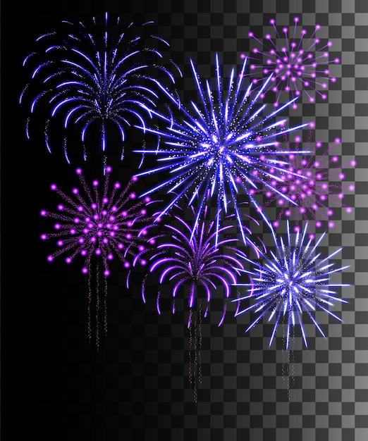 Gloeiende collectie. paars en blauw vuurwerk, lichteffecten geïsoleerd op transparante achtergrond. Premium Vector