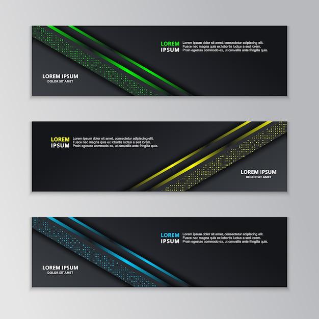 Gloeiende dark techno sjabloon voor spandoek Premium Vector