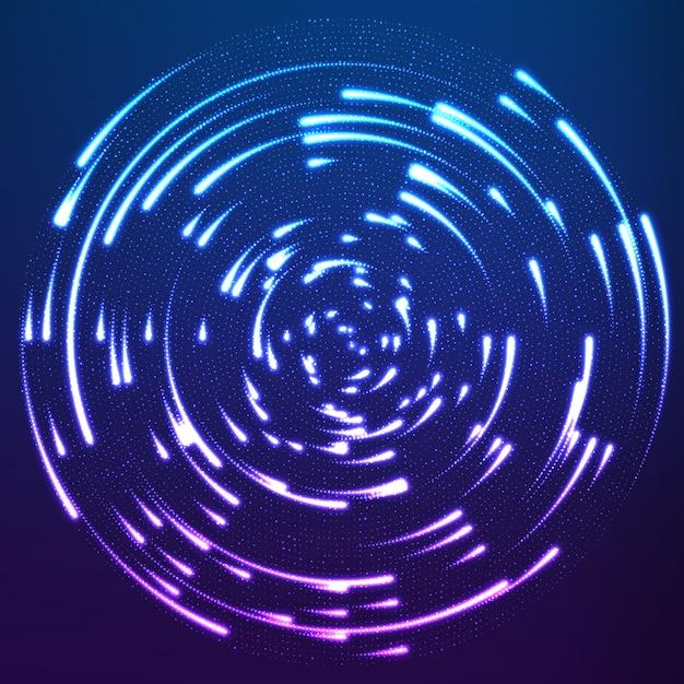Gloeiende deeltjes die rond het centrum vliegen en sporen achterlaten Gratis Vector