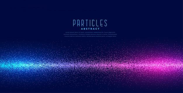 Gloeiende deeltjes op lineaire lichttechnologieachtergrond Gratis Vector