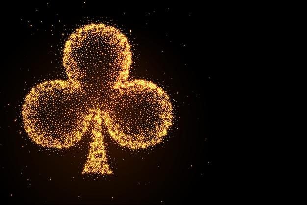 Gloeiende gouden glitter clubs symbool zwarte achtergrond Gratis Vector