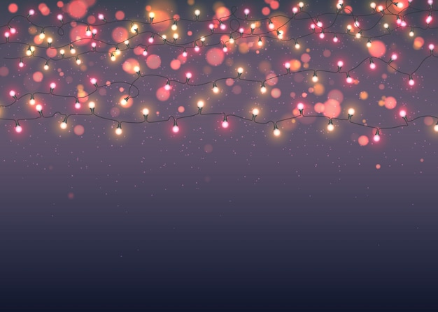 Gloeiende kerstmisslingers op donkere achtergrond met bokeh Premium Vector