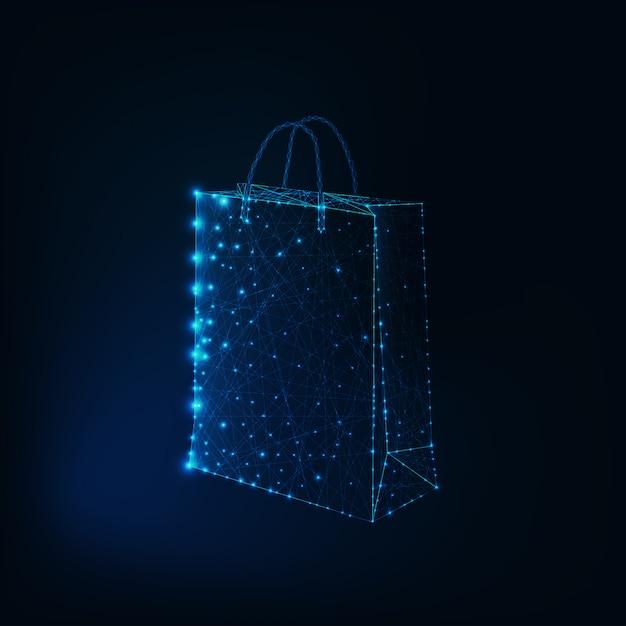 Gloeiende lage poly boodschappentas gemaakt van sterren en lijnen Premium Vector