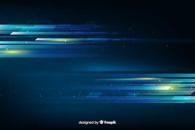 Gloeiende lichte beweging futuristische achtergrond Gratis Vector
