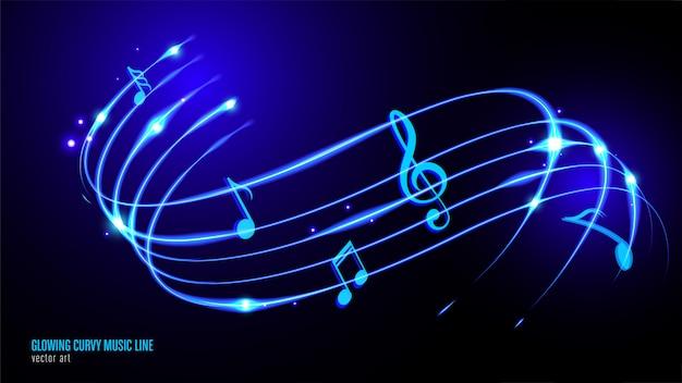 Gloeiende muziek keynote Premium Vector