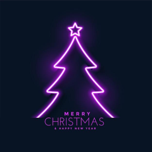 Gloeiende neon kerstboom achtergrond Gratis Vector