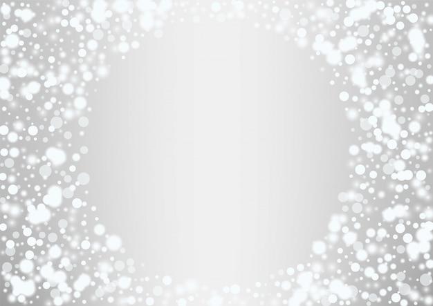 Gloeiende witte kerstmisachtergrond van sneeuwvlokken Premium Vector