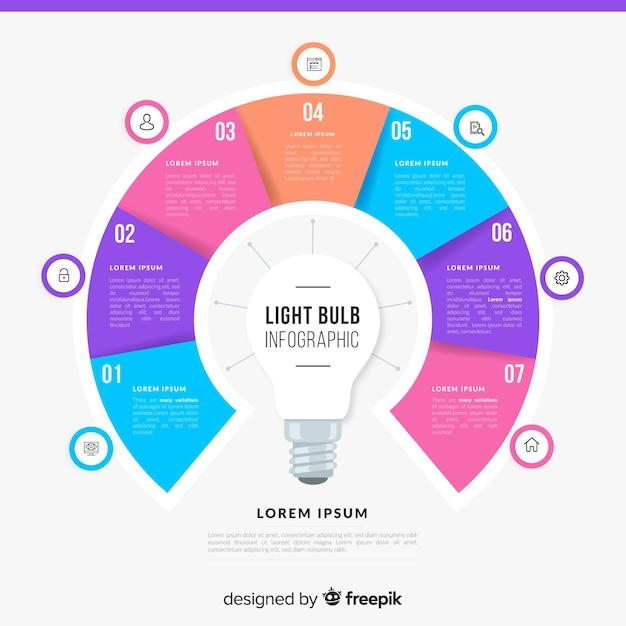 Gloeilamp infographics Gratis Vector