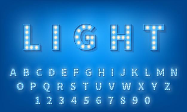 Gloeilamp lettertype. retro stijl 3d typografie lettertype alfabet Premium Vector