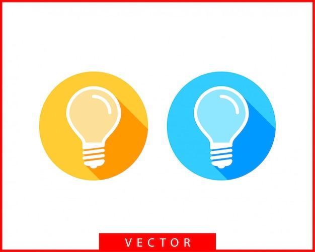 Gloeilamp logo. led-verlichting geïsoleerde silhouet. Premium Vector