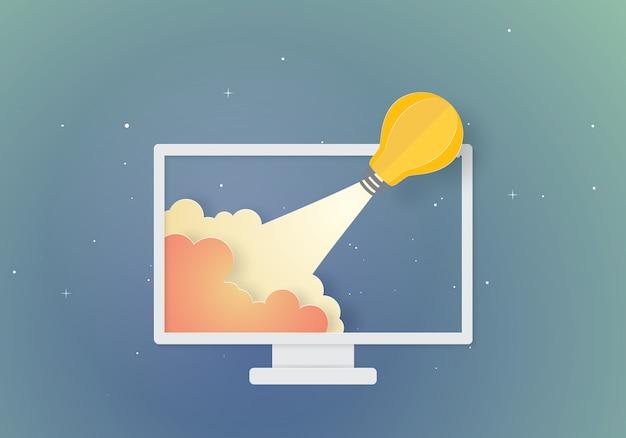 Gloeilamp raket concept inspiratie bedrijf Premium Vector