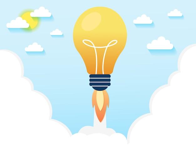 Gloeilamp raket lancering voor idee boost Premium Vector